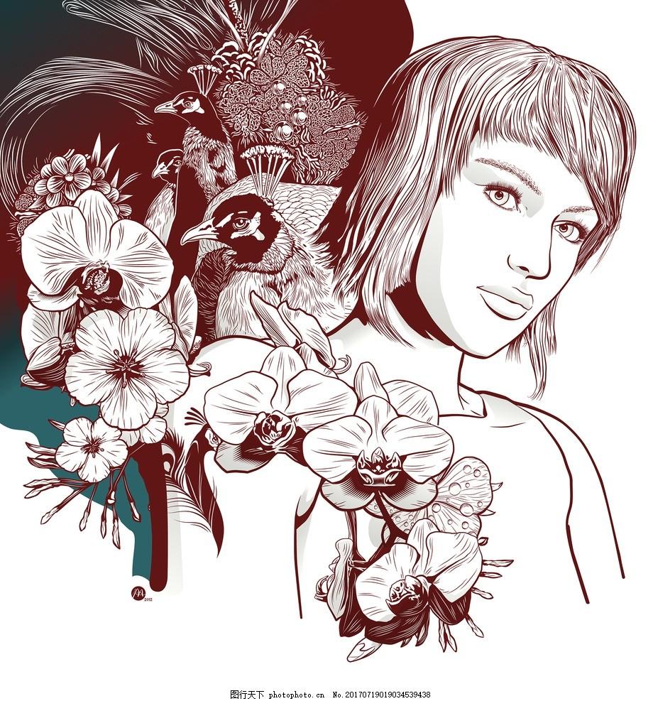 人物插画 手绘插图 动漫人物 花朵