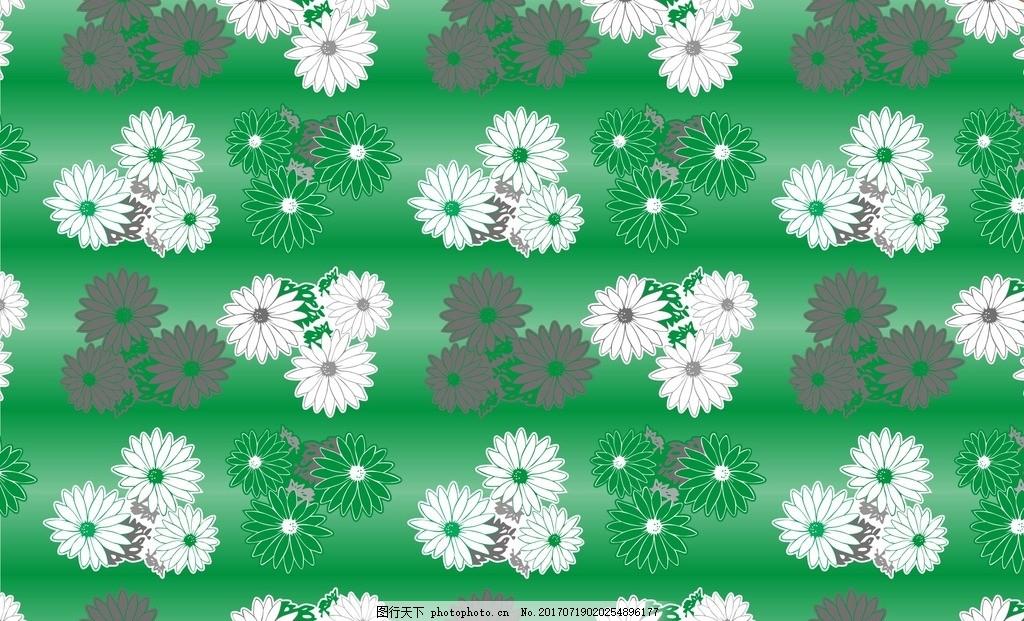 绿色背景菊花 矢量 菊花 底纹 cdr 墙纸 设计 花色 花边 绿色 白色
