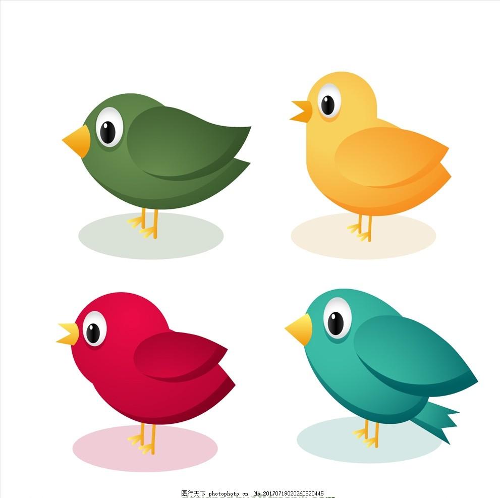 矢量鸟 矢量插画 鸟插画 鸟素材 老鹰 花鸟图 布料印花 手绘花卉 小鸟