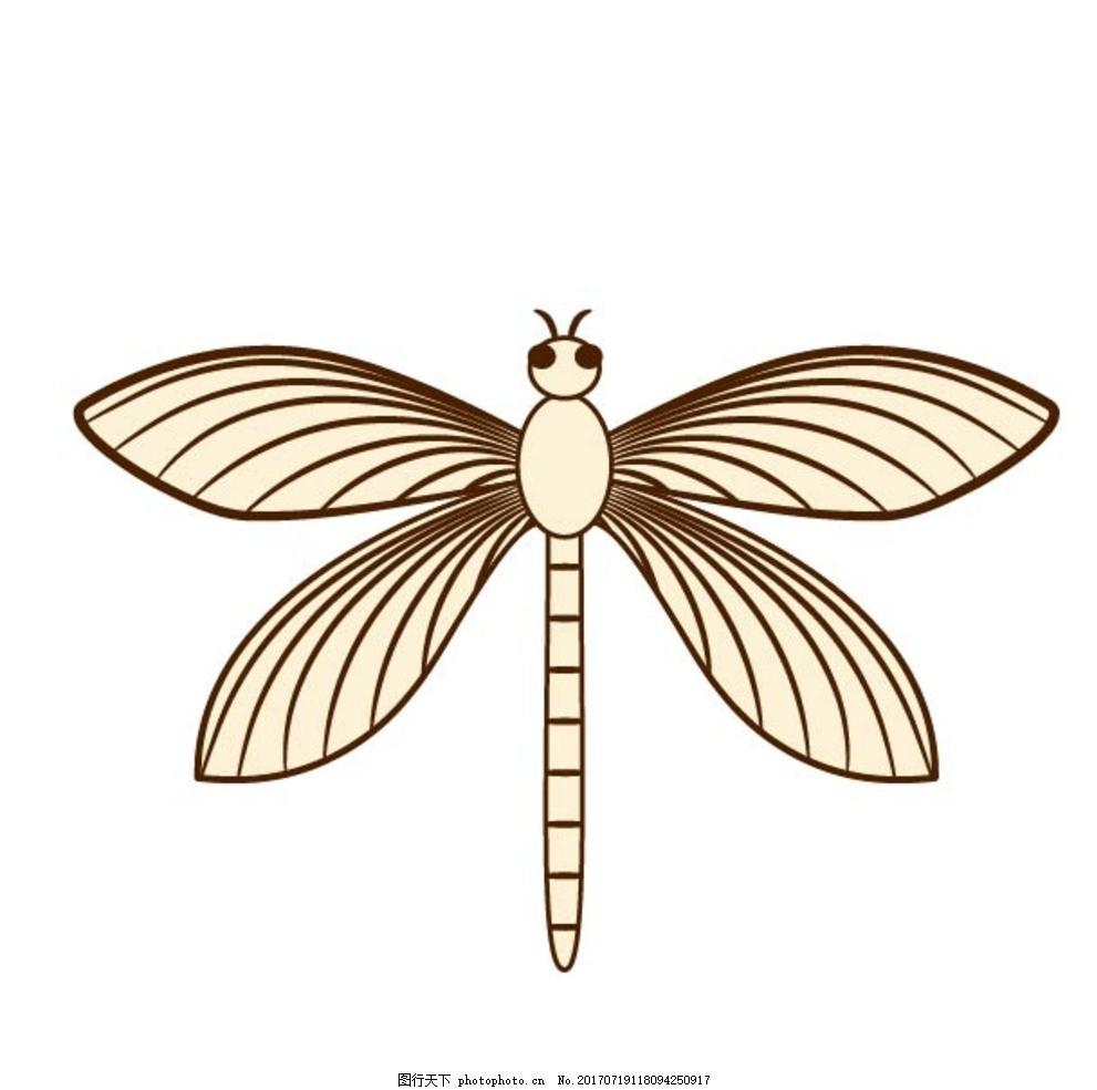 扁平动物 矢量扁平 动物 矢量图 卡通漫画 q版动物 贴纸 卡通蜻蜓