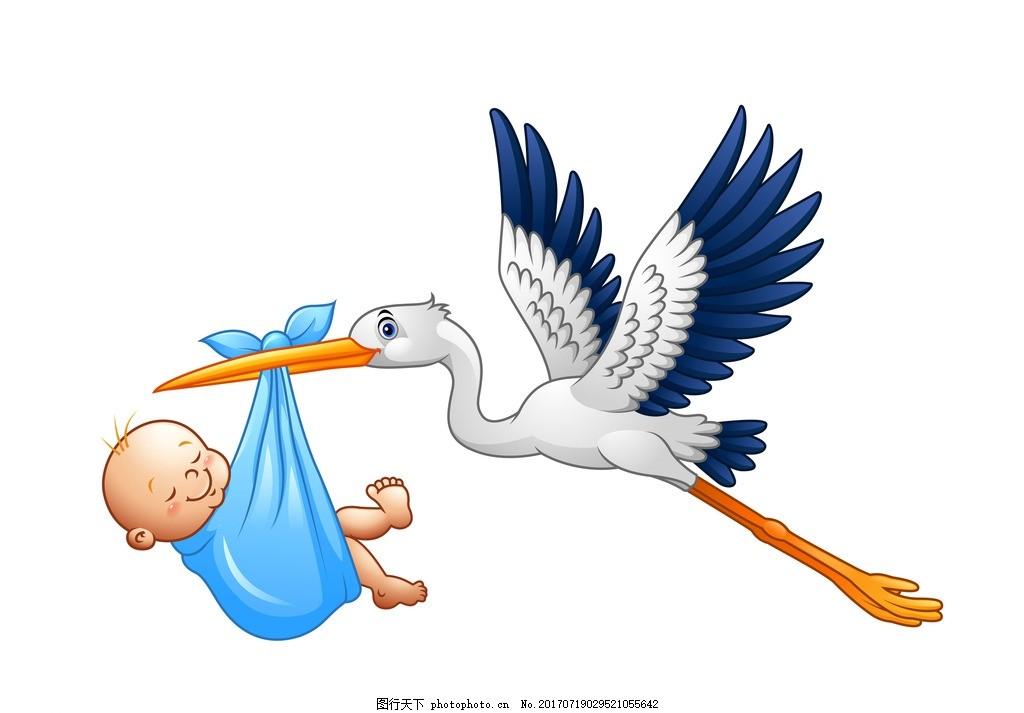 送子鹤 卡通 飞翔的送子鹤 送子仙鹤 蓝天 白云