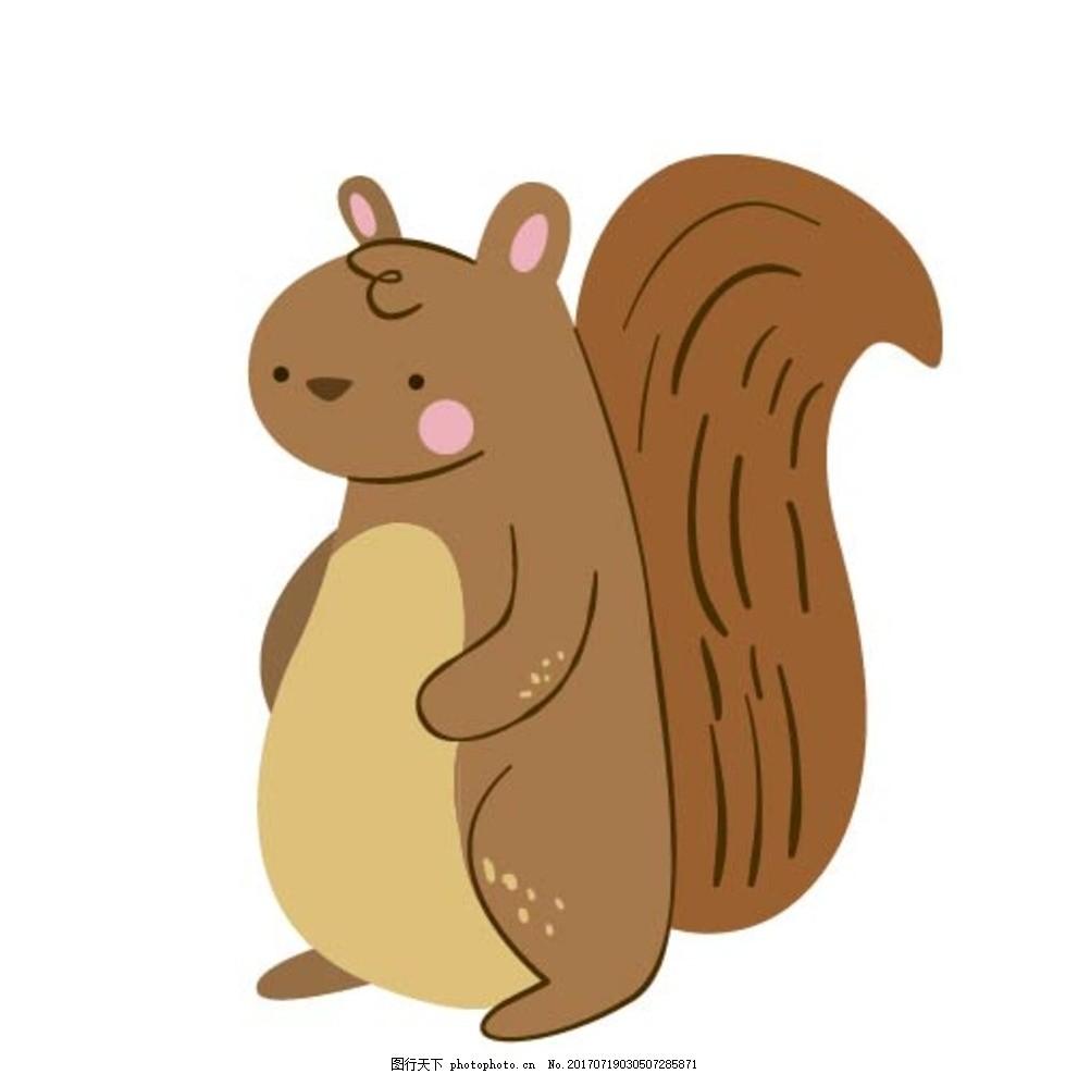 卡通松鼠,卡通动物 动漫卡通 可爱 贺卡 动物插画-图
