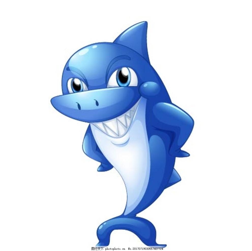 卡通鲨鱼,卡通动物 动漫卡通 可爱 贺卡 动物插画-图