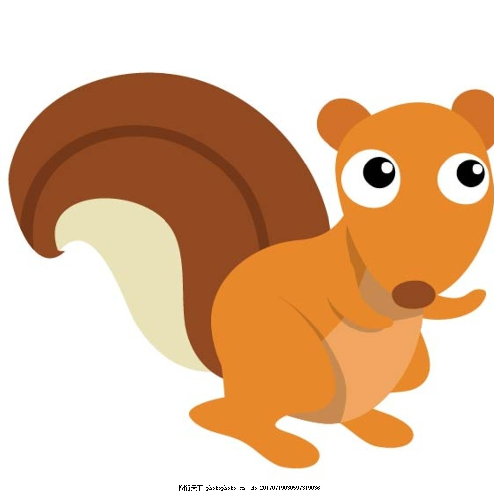 扁平动物 矢量扁平动物 矢量图 卡通漫画 q版动物 贴纸 卡通松鼠 设计