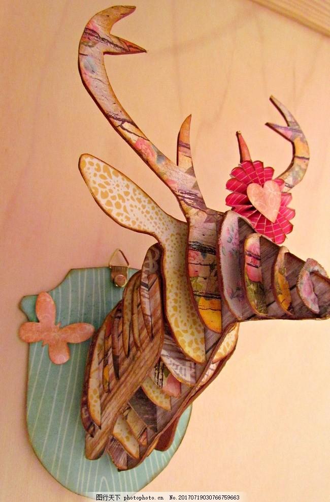 田园 麋鹿 手绘 花卉 背景墙 乡村 鹿头 水彩画 鹿 公鹿 梅花鹿 条纹