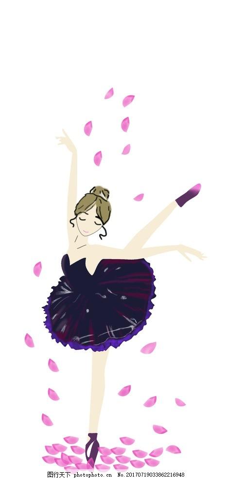 跳舞的女孩 手绘女孩 花瓣女孩 漂亮女孩 图片素材