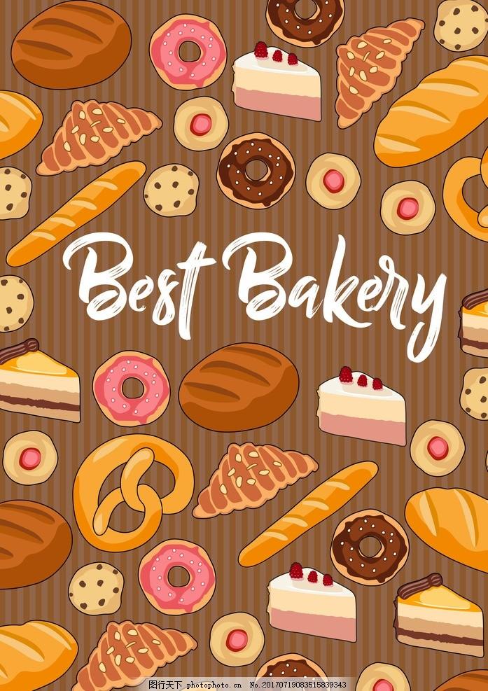 甜品背景 烘焙背景 面包背景 甜点 甜品 甜甜圈 面包 蛋糕 美食背景
