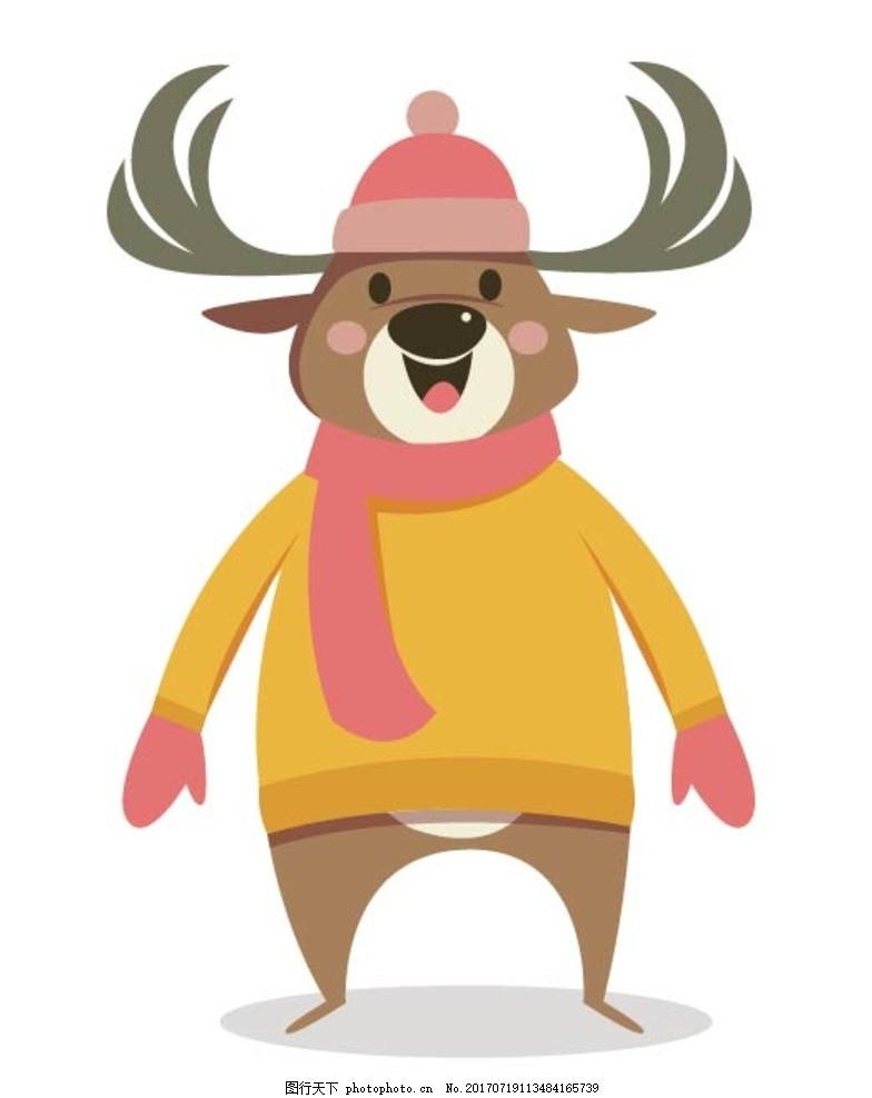扁平动物 矢量扁平 动物 矢量图 卡通漫画 q版动物 贴纸 卡通鹿 设计