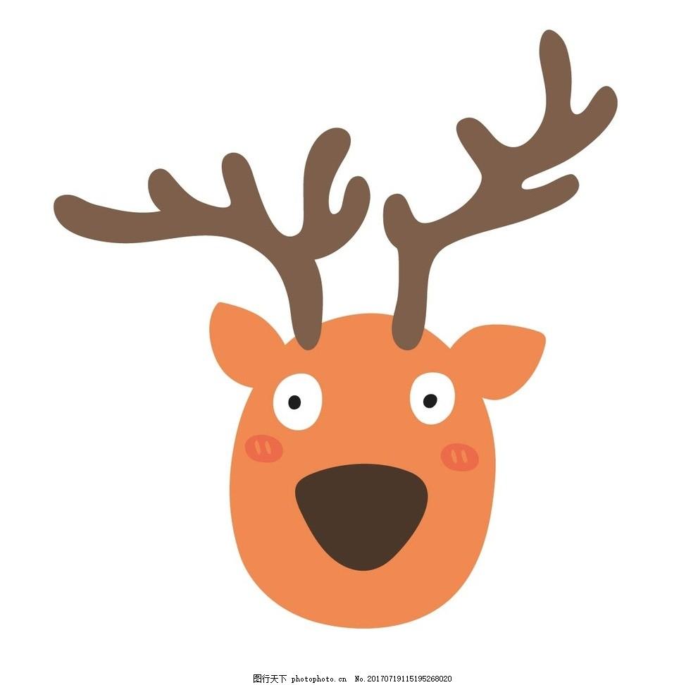 卡通麋鹿 卡通动物 动漫卡通 可爱 贺卡 动物插画 儿童绘本 儿童画画
