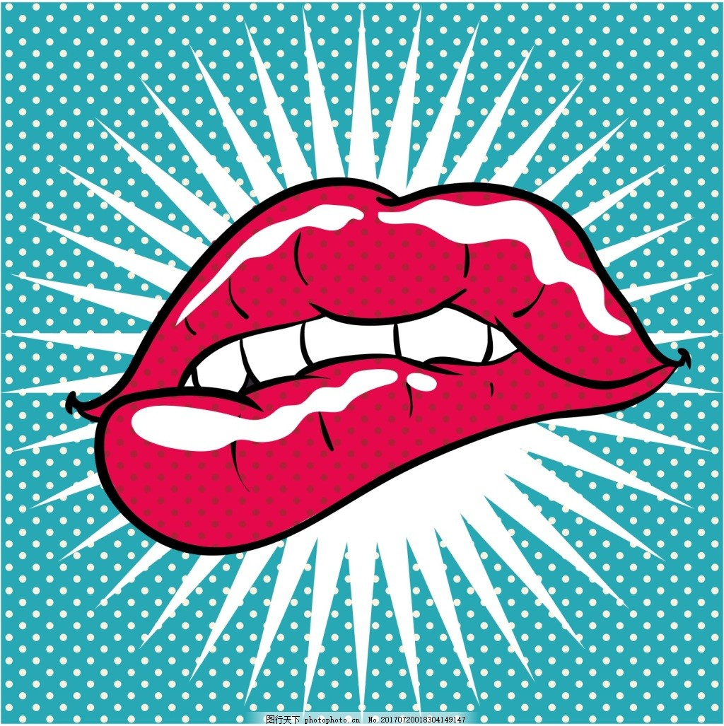 红色嘴唇欧美卡通海报漫画风格人物矢量
