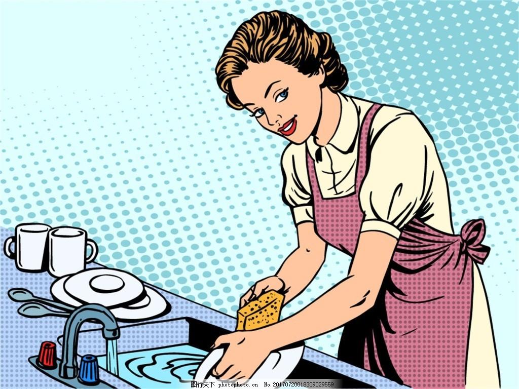 厨房洗碗的女人海报漫画风格人物矢量素 蓝色 卡通 风景 插画 手绘