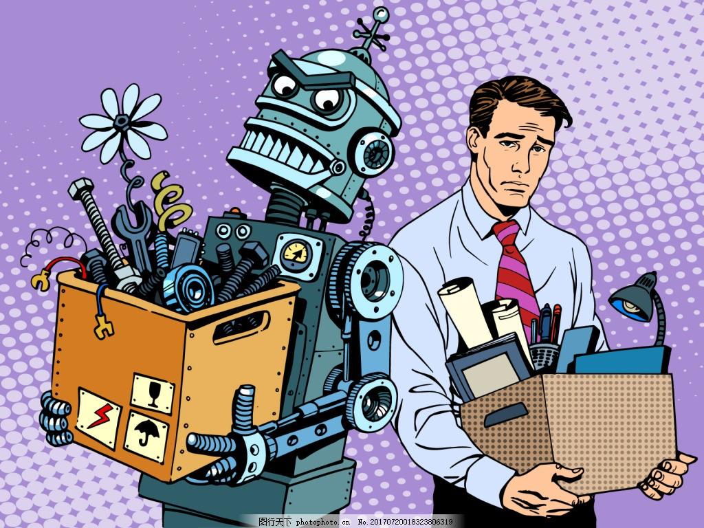 卡通机器人海报漫画风格人物矢量素材