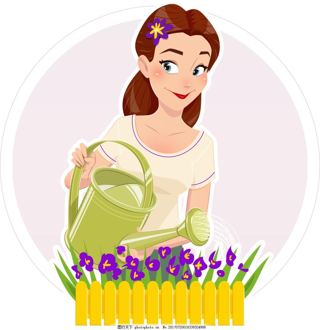 卡通人物浇花图片_浇花的妈妈插画,人物 花朵 灌水 园林 工作 卡通-图行天下图库
