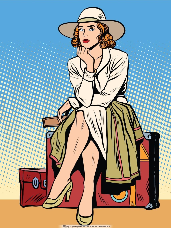 坐在旅行箱的女人漫画风格人物矢量素材 红色旅行箱 女士 金发 卡通