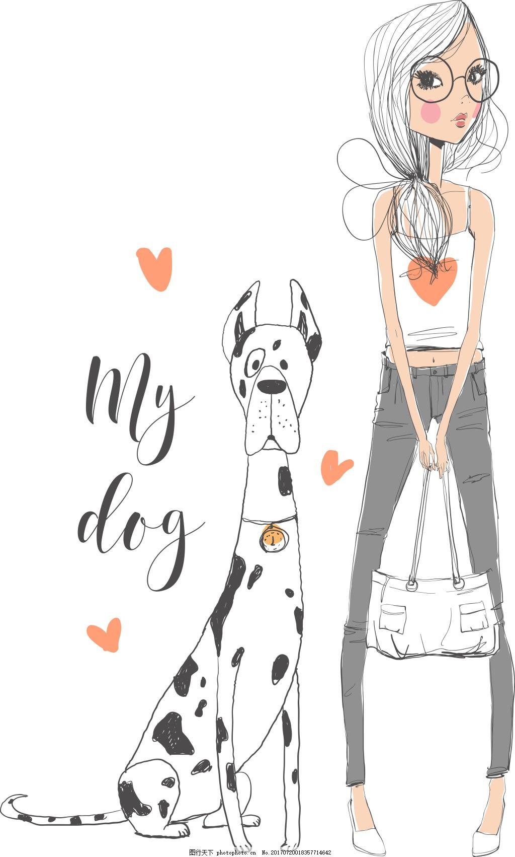 手绘可爱的女生和狗插画