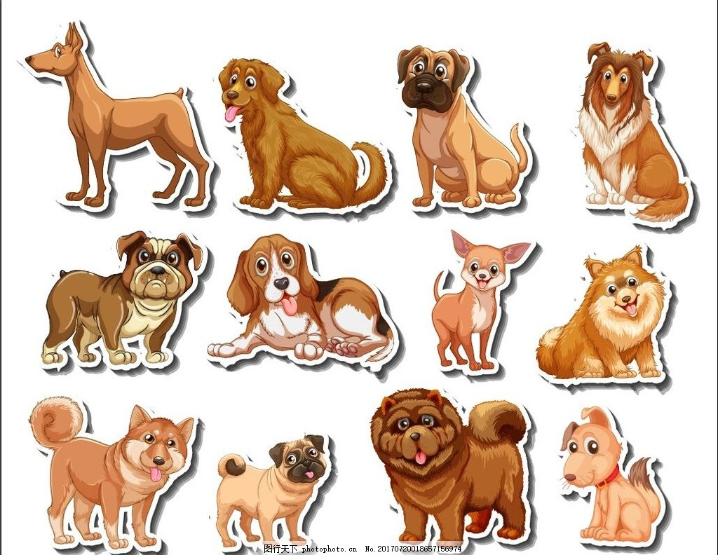 卡通动物 手绘动物 卡通狗狗 狗年 狗素材 手绘狗猫 萨摩 泰迪 博美