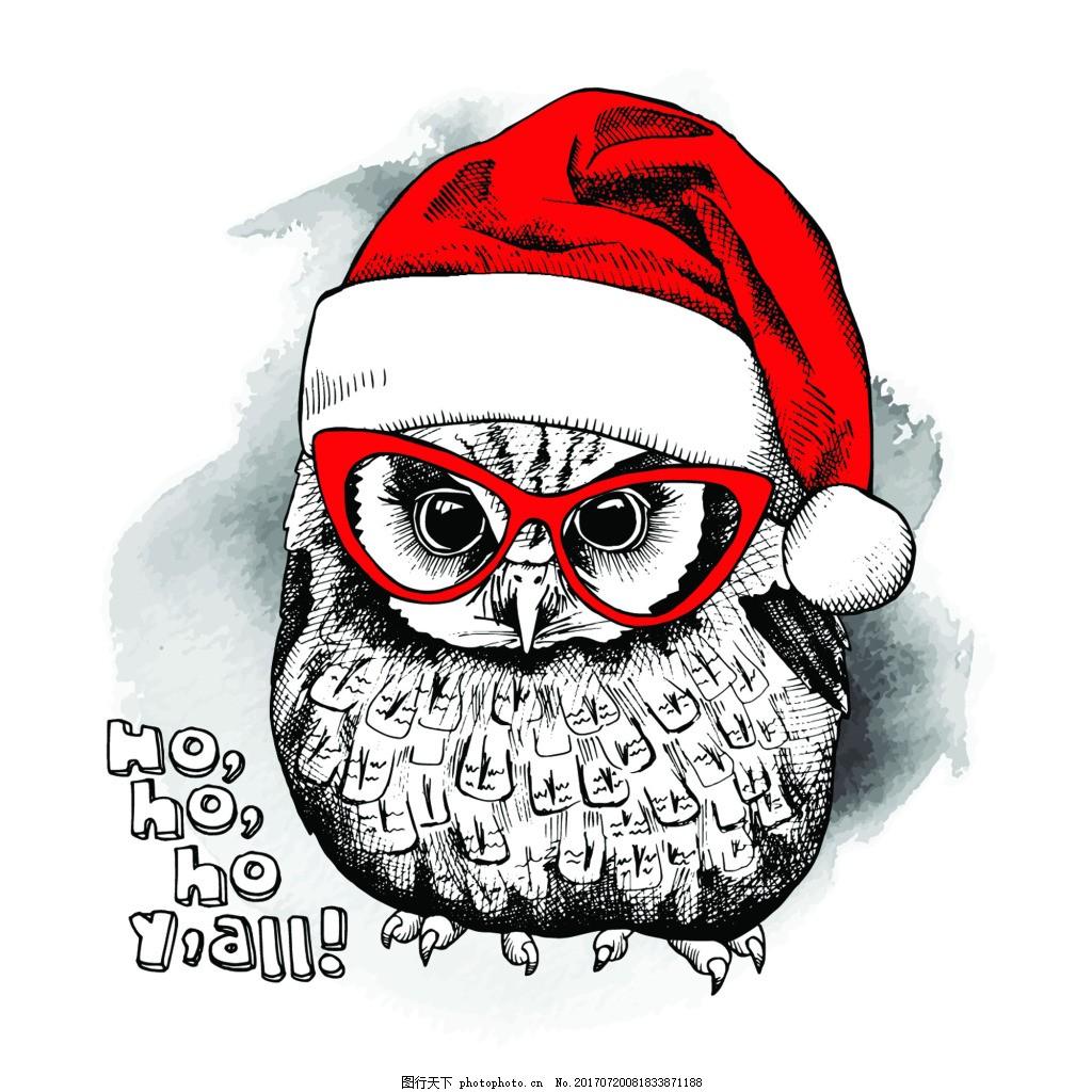鸟类 水彩画 手绘 卡通 动物 圣诞节卡片 插画 矢量 铅笔画 黑白 红色