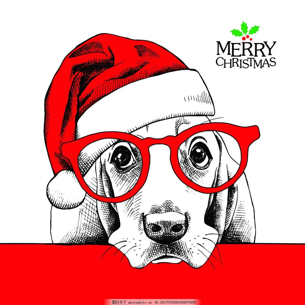 圣诞帽狗狗可爱动物圣诞节海报矢量