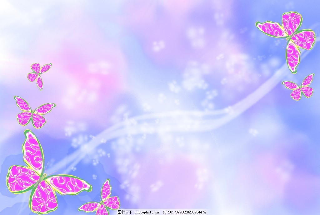粉蓝色背景�_粉蝴蝶炫彩背景 蓝色背景 梦幻