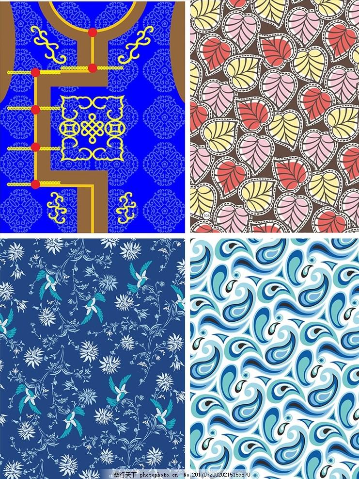 树叶花鸟手绘矢量墙纸壁画 家纺四件套 欧式花纹 四方连续 定位印花
