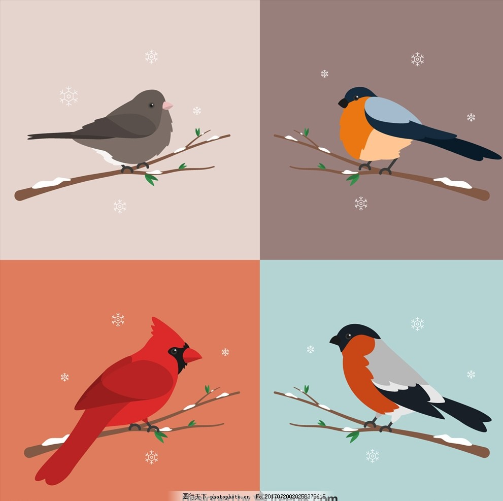 矢量鸟 矢量插画 鸟插画 鸟素材 老鹰 花鸟图 布料印花 手绘花卉