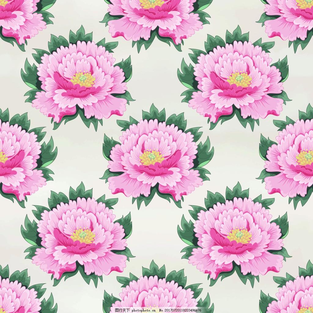 平铺牡丹花图形花纹VI设计矢量 粉色 中国风 国画 简约 包装纹理