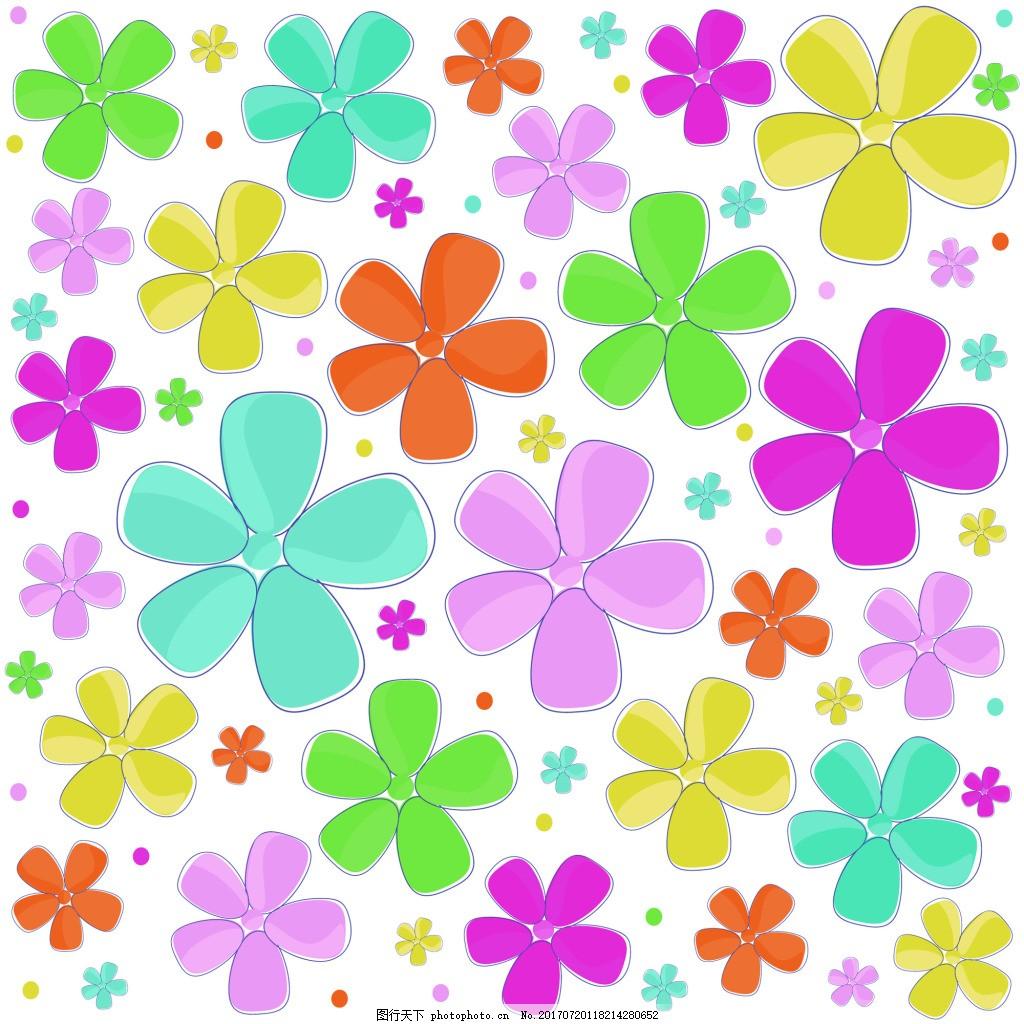 可爱卡通彩色小花纹理图案矢量