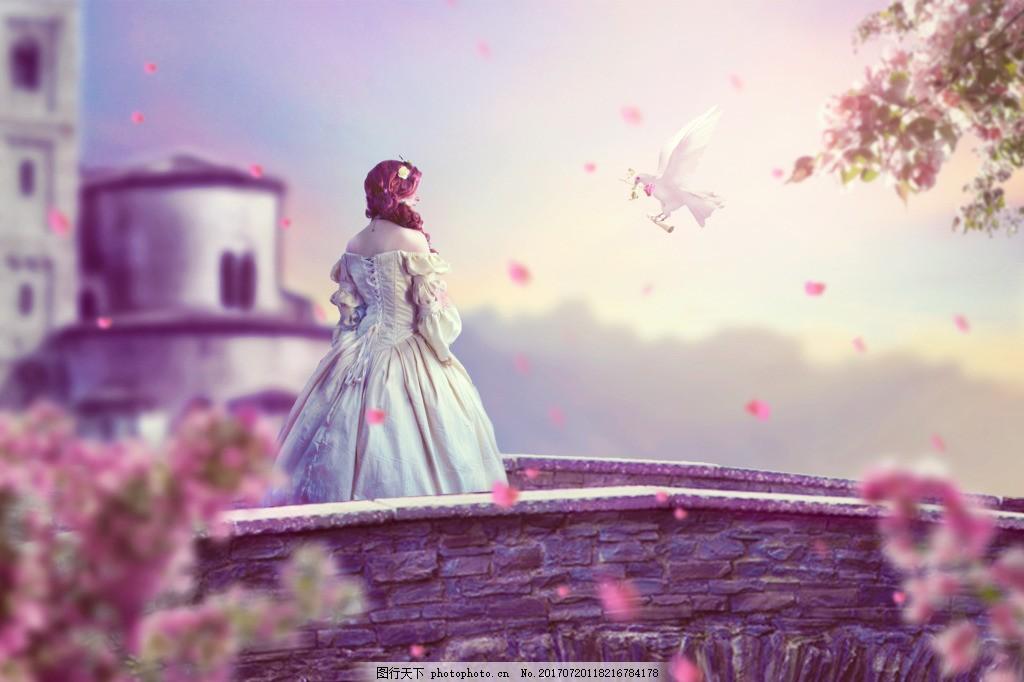 送信鸽子与美女梦幻背景 女人 浪漫 海报 城堡 公主 唯美 石桥