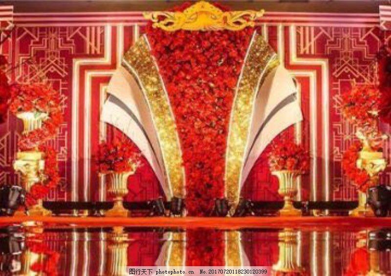 欧式红金婚礼背景盖茨比线条风格金色扇形