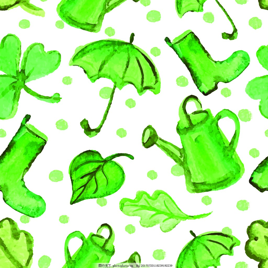 绿色手绘清新用品背景