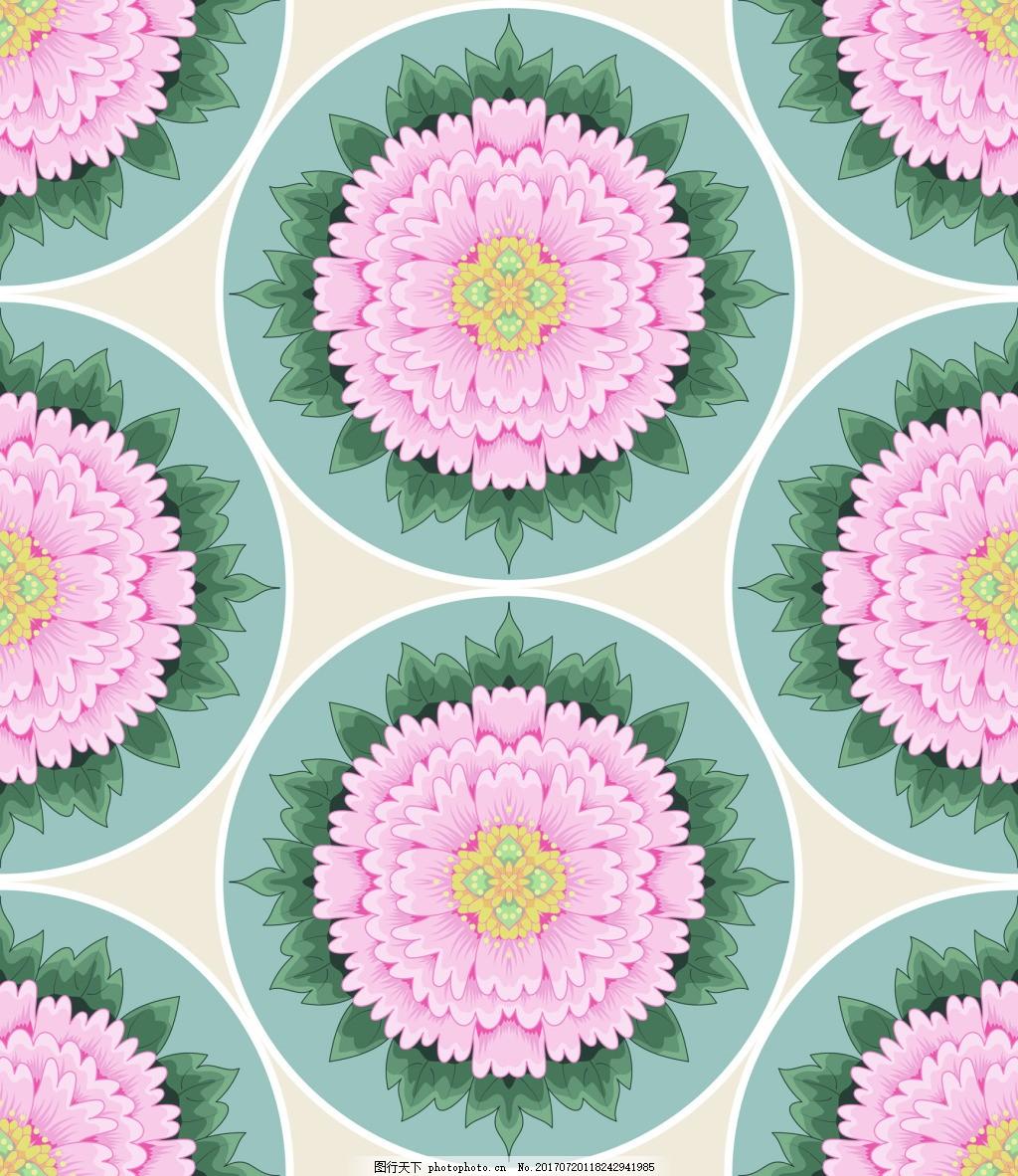 圆形俯视牡丹花图形花纹vi设计矢量合集