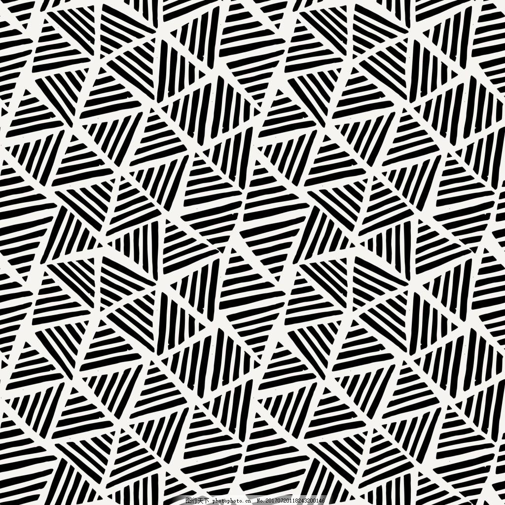 黑色线条三角纹理背景矢量素材 黑白 横线 涂鸦 线条 小清新 素材