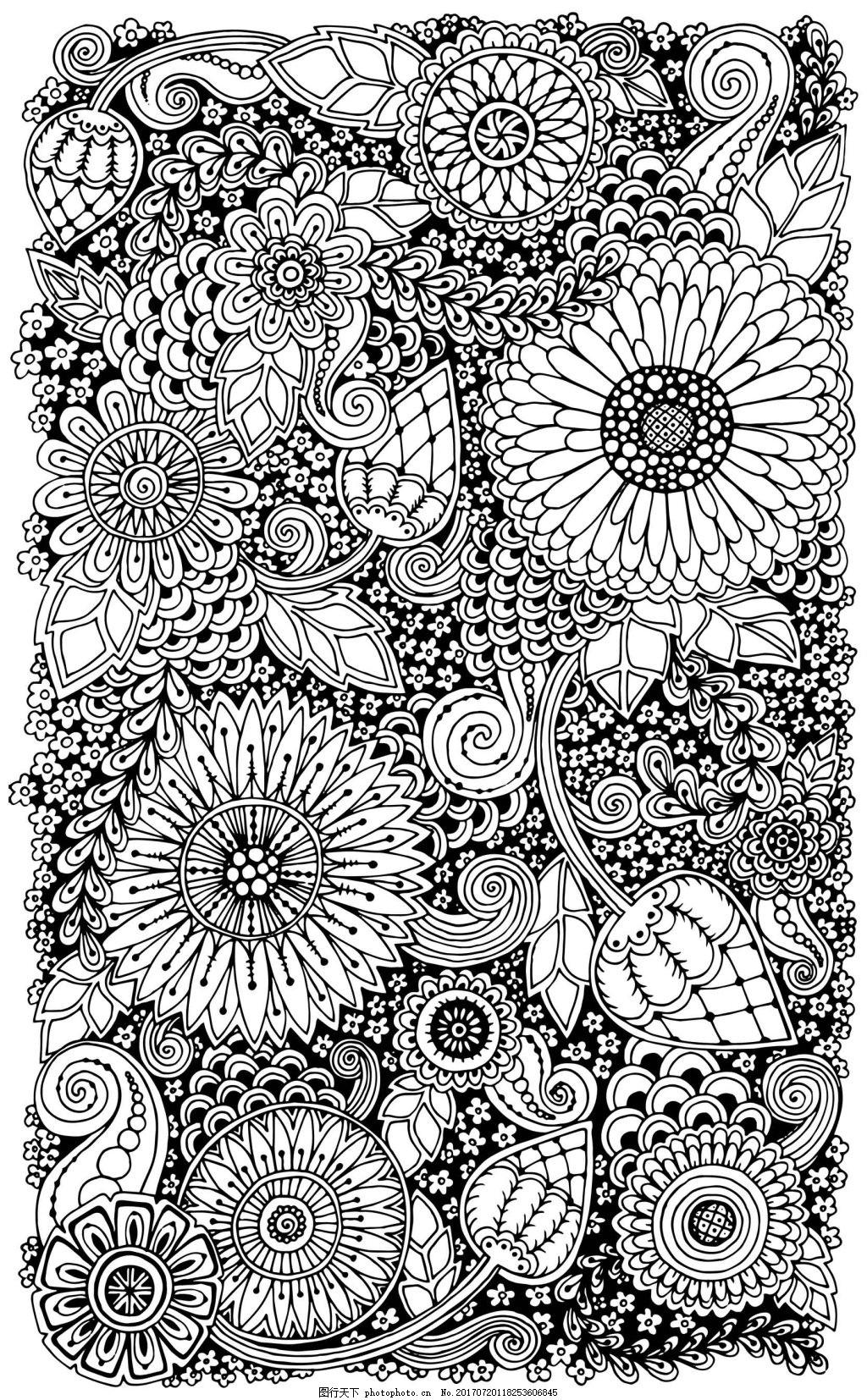 手绘涂鸦太阳花背景 黑白 叶子 花朵 植物 底纹