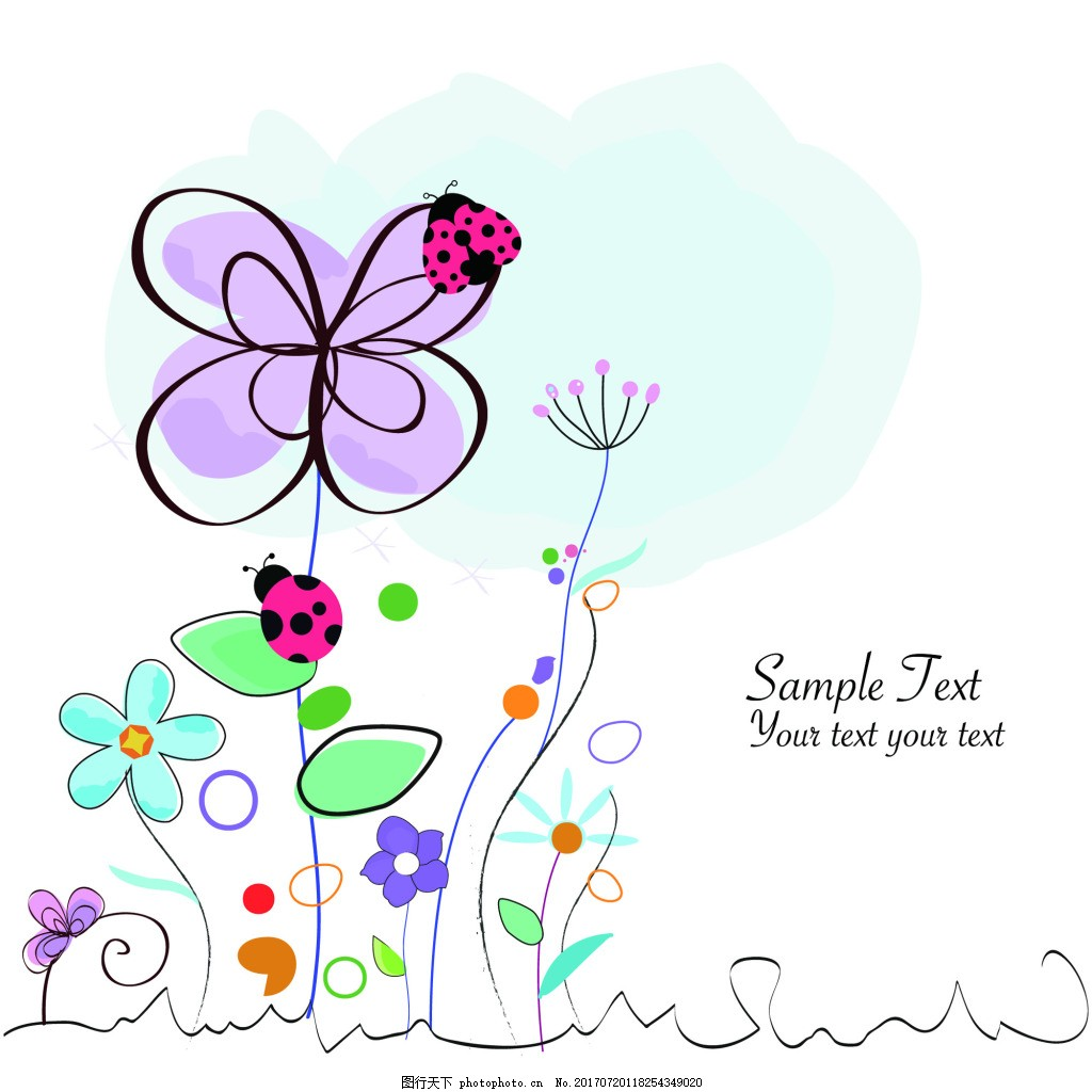 手绘可爱卡通彩色小花纹理图案矢量