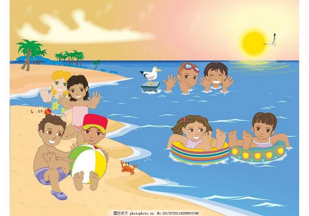 儿童沙滩玩耍矢量素材 沙滩 海滩 水 游泳 小孩 儿童 玩水 矢量素材