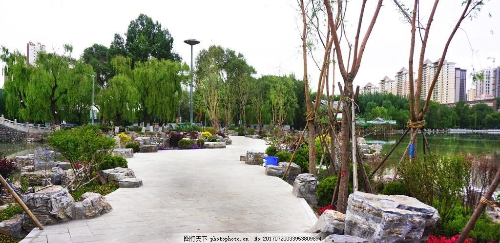 湖边步道 青海省 西宁市 人民公园 清晨 风景 风光 摄影 旅游摄影