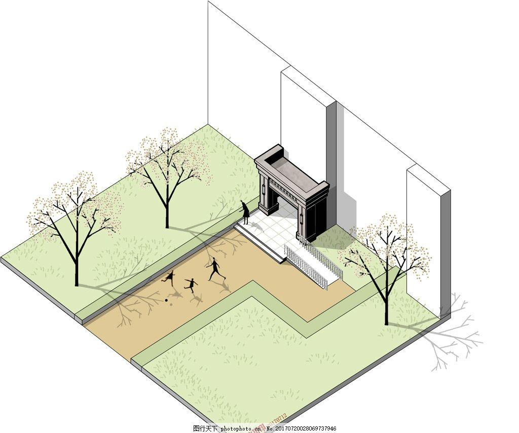 住宅入户门廊轴测分析图 手绘