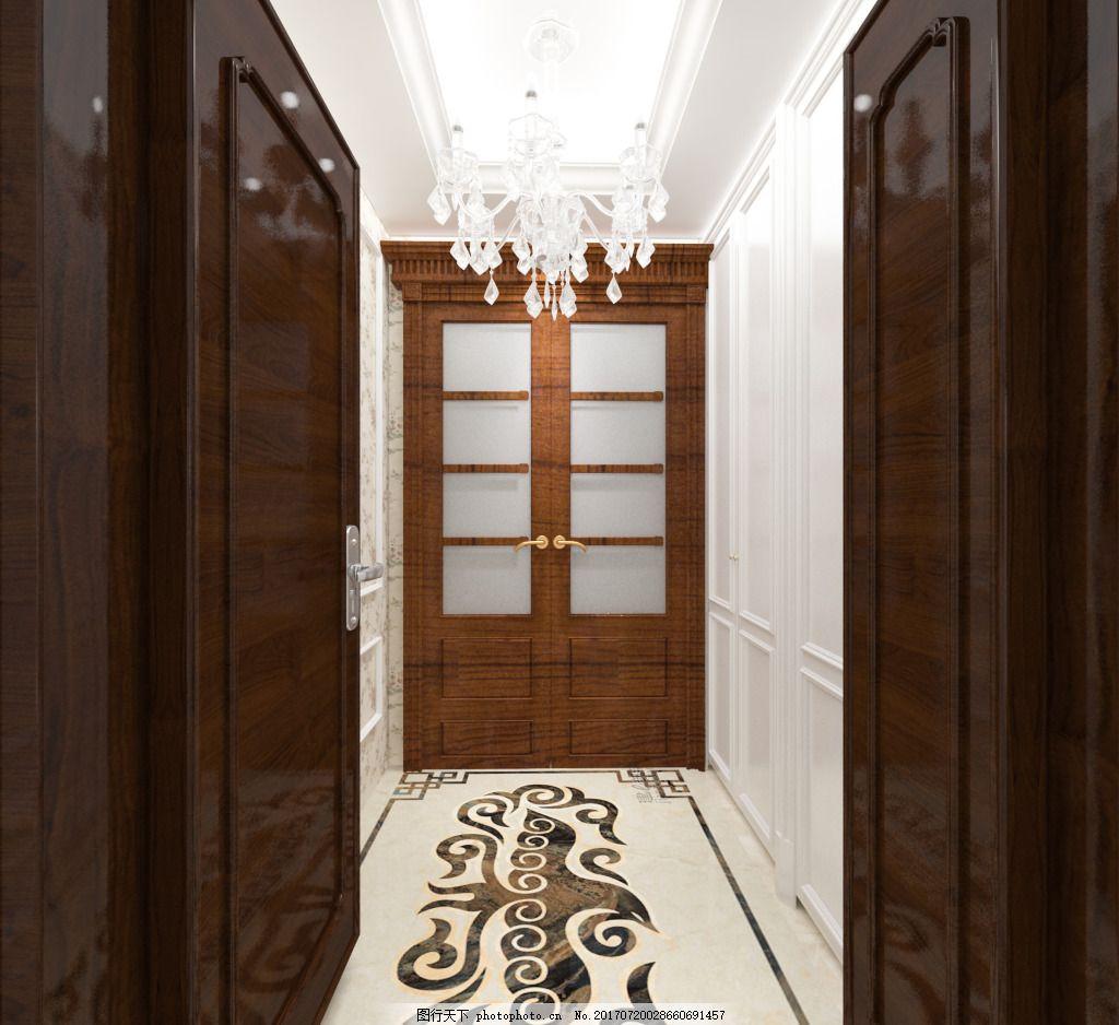 室内效果图 入户门厅 门厅模型 地面拼花 欧式入户门厅