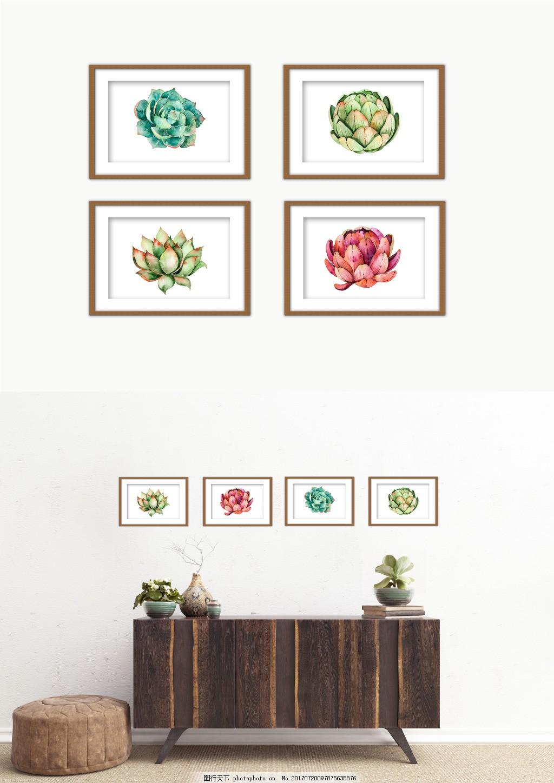现代小清新森系多肉绿色装饰画,风景 精品装饰画 水果