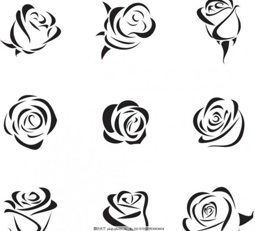 手绘玫瑰花 手绘 玫瑰 植物 花卉 花朵 矢量素材 设计 广告设计 cdr