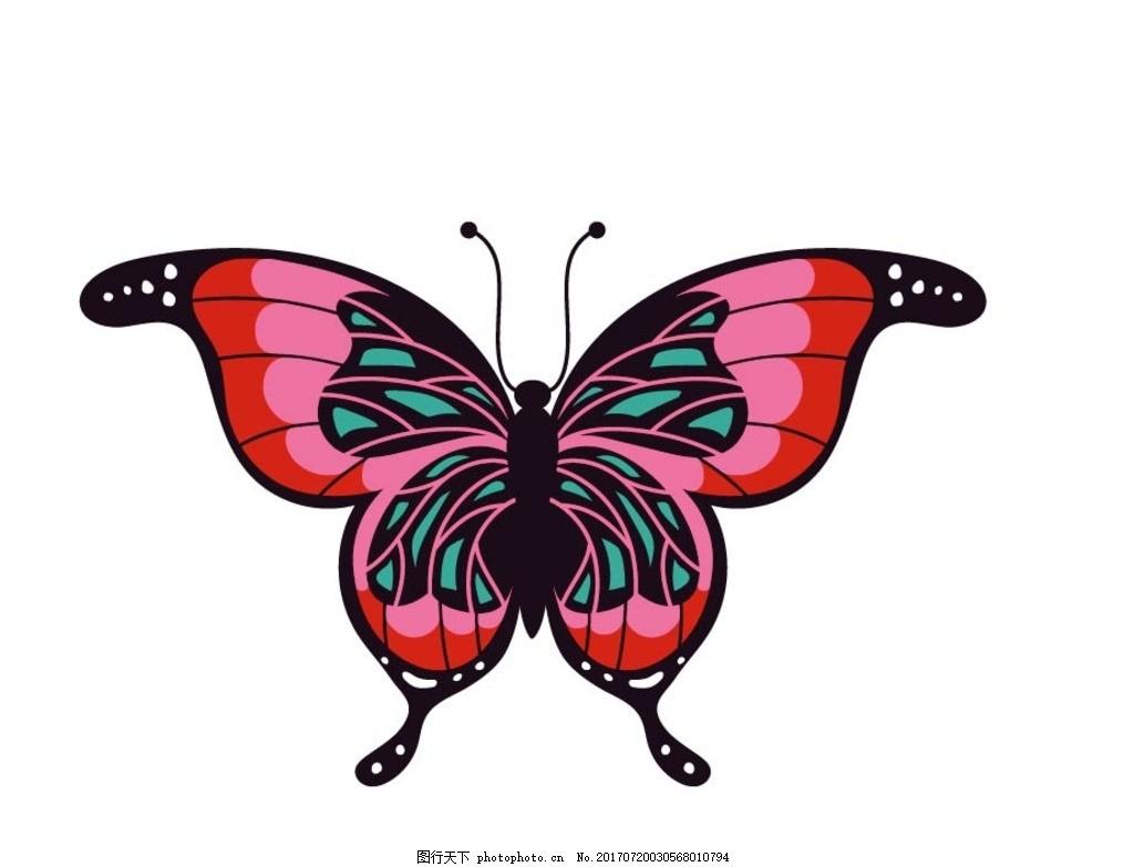 卡通蝴蝶,卡通动物 动漫卡通 可爱 贺卡 动物插画-图
