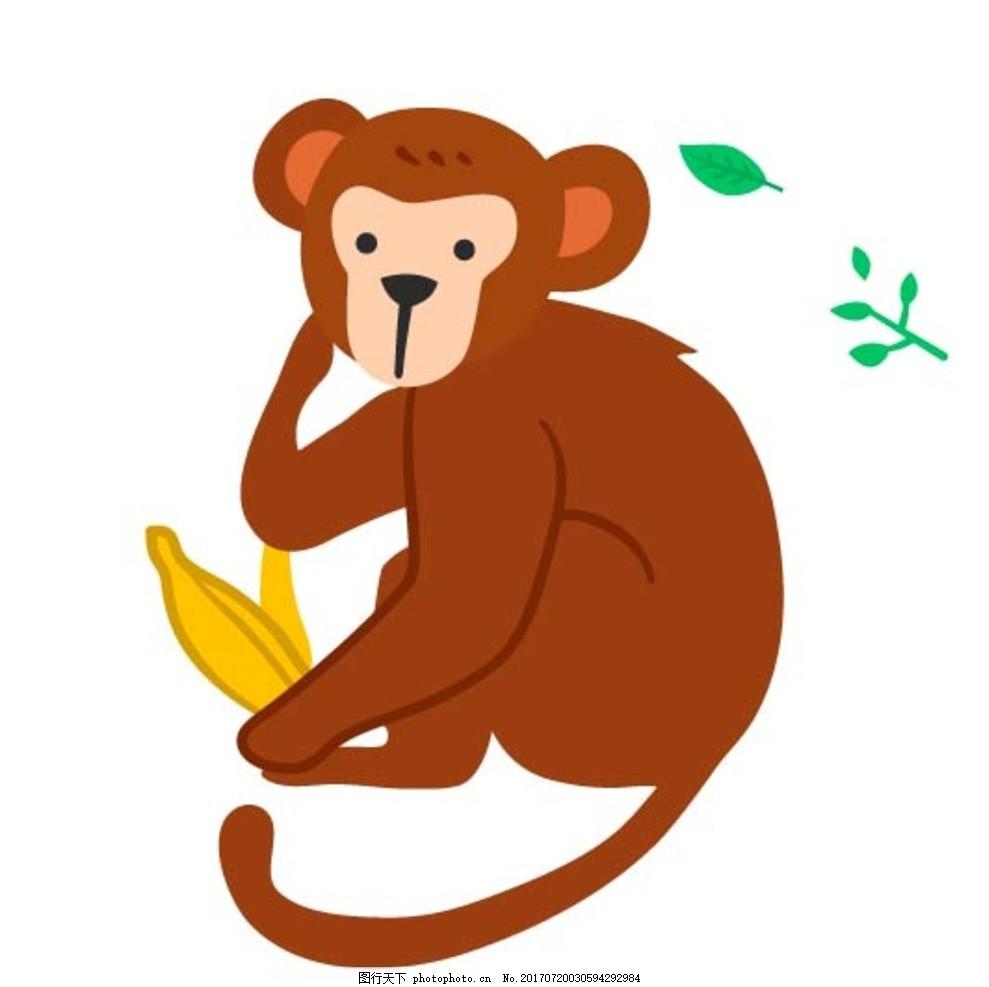 卡通猴子,卡通动物 动漫卡通 可爱 贺卡 动物插画-图
