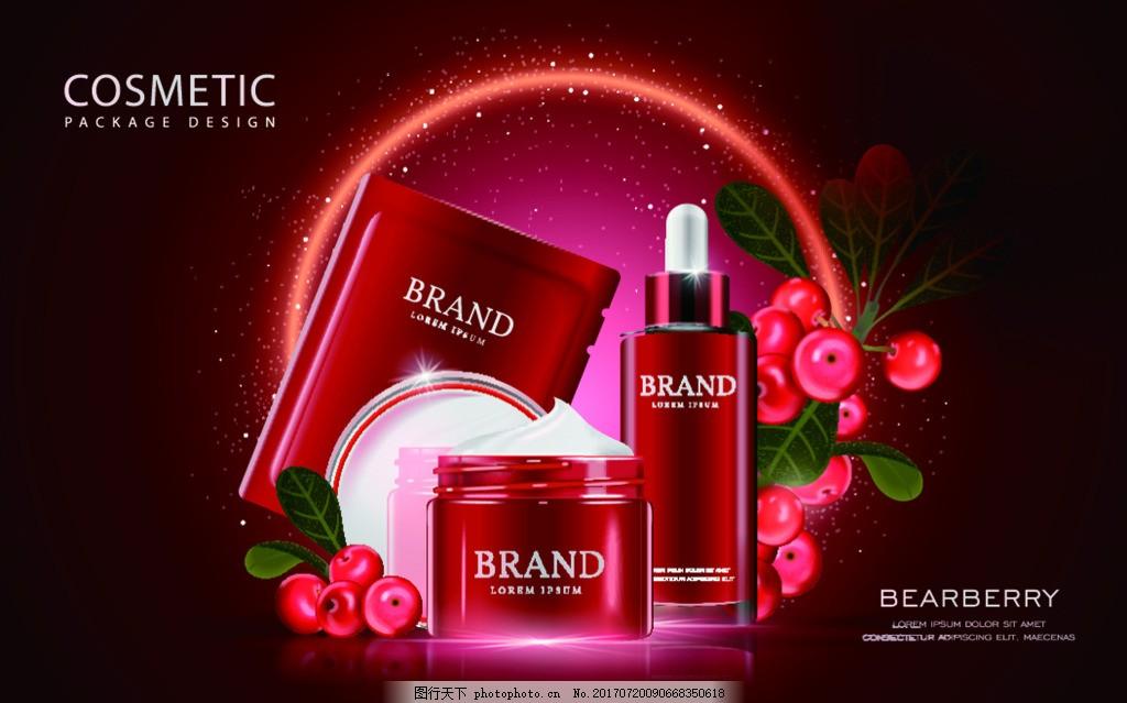 红色护肤品套装瓶子矢量设计素材 酒红色背景 护肤精华 面膜 介绍