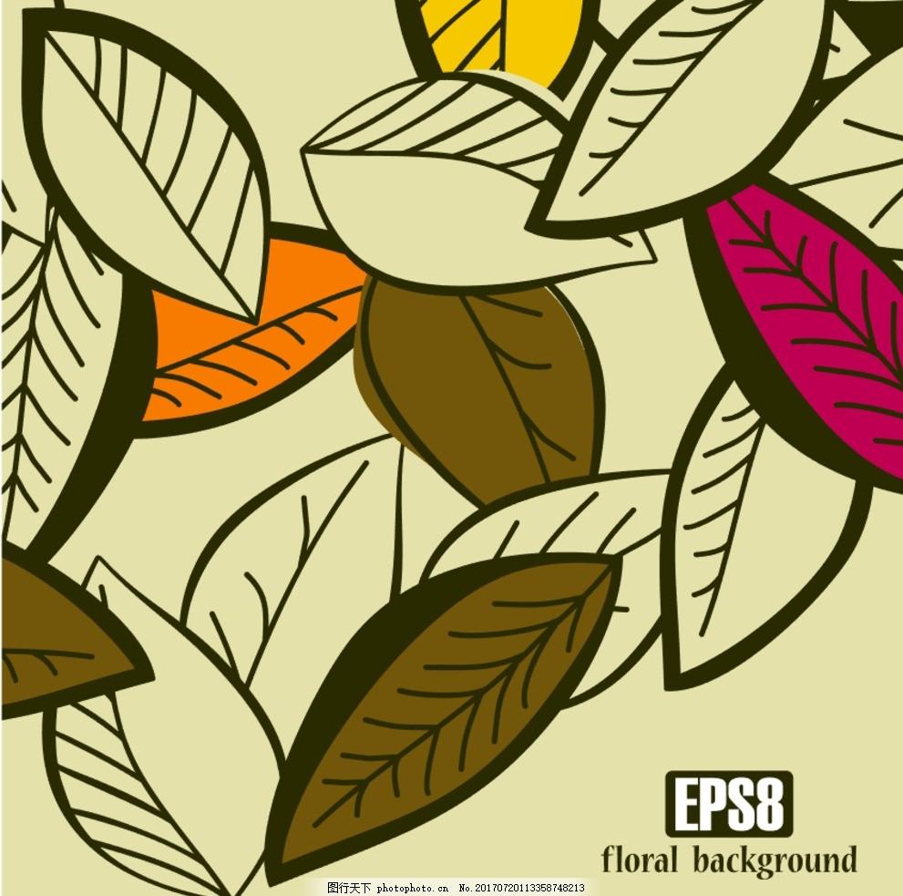 手绘线条叶脉矢量图 自然 可爱 绘画 环境 性质 抽纱 素描 绿色背景