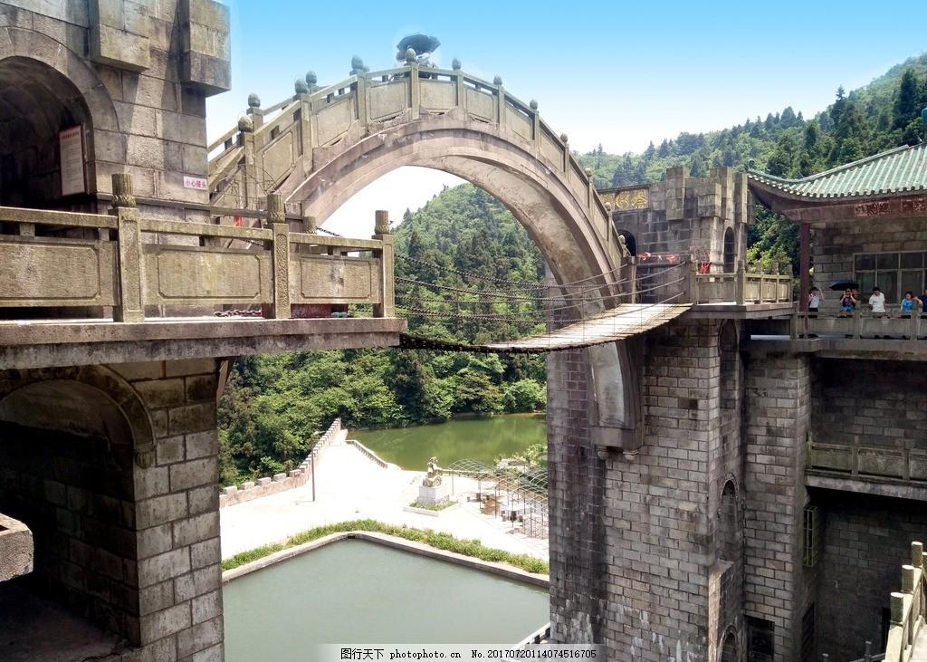 衡山旅游景区桥风景摄影 湖南 奈何桥 湖水 树木 岭南建筑 屋檐