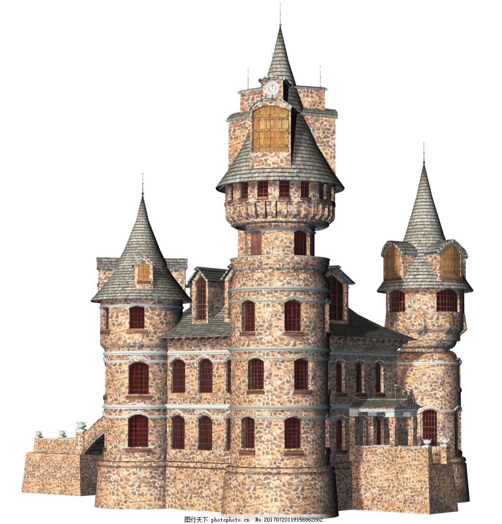 复古欧式城堡元素 尖顶 石头城堡 免抠