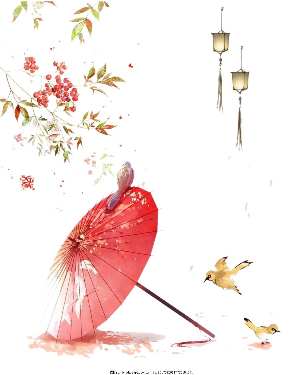 手绘油纸伞黄鹂元素 中国风 水墨画 绿叶 花朵 红色油纸伞 免抠