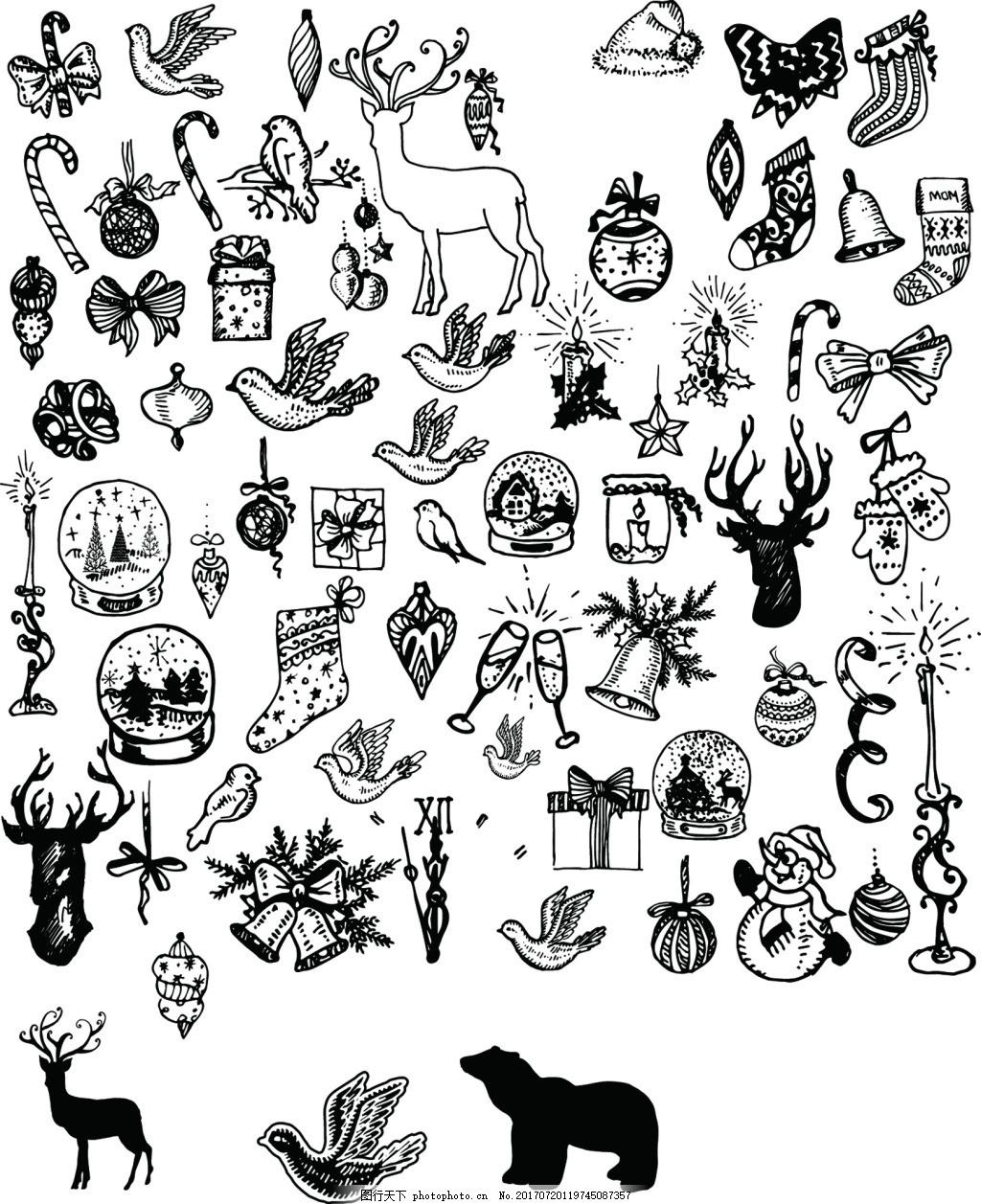 圣诞节横幅装饰素材 黑白线条 圣诞节装饰 动物 水晶球 铃铛 酒杯