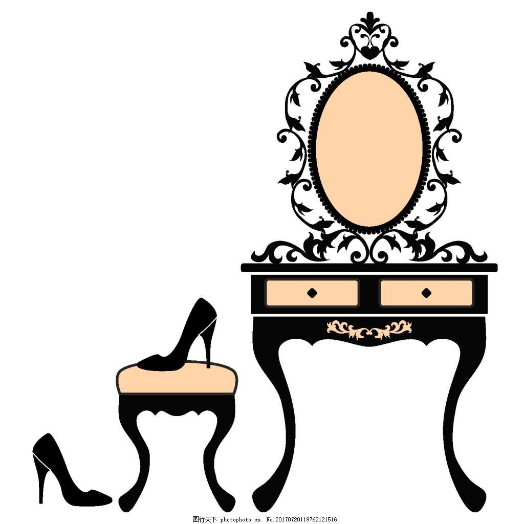 手绘梳妆台椅子元素
