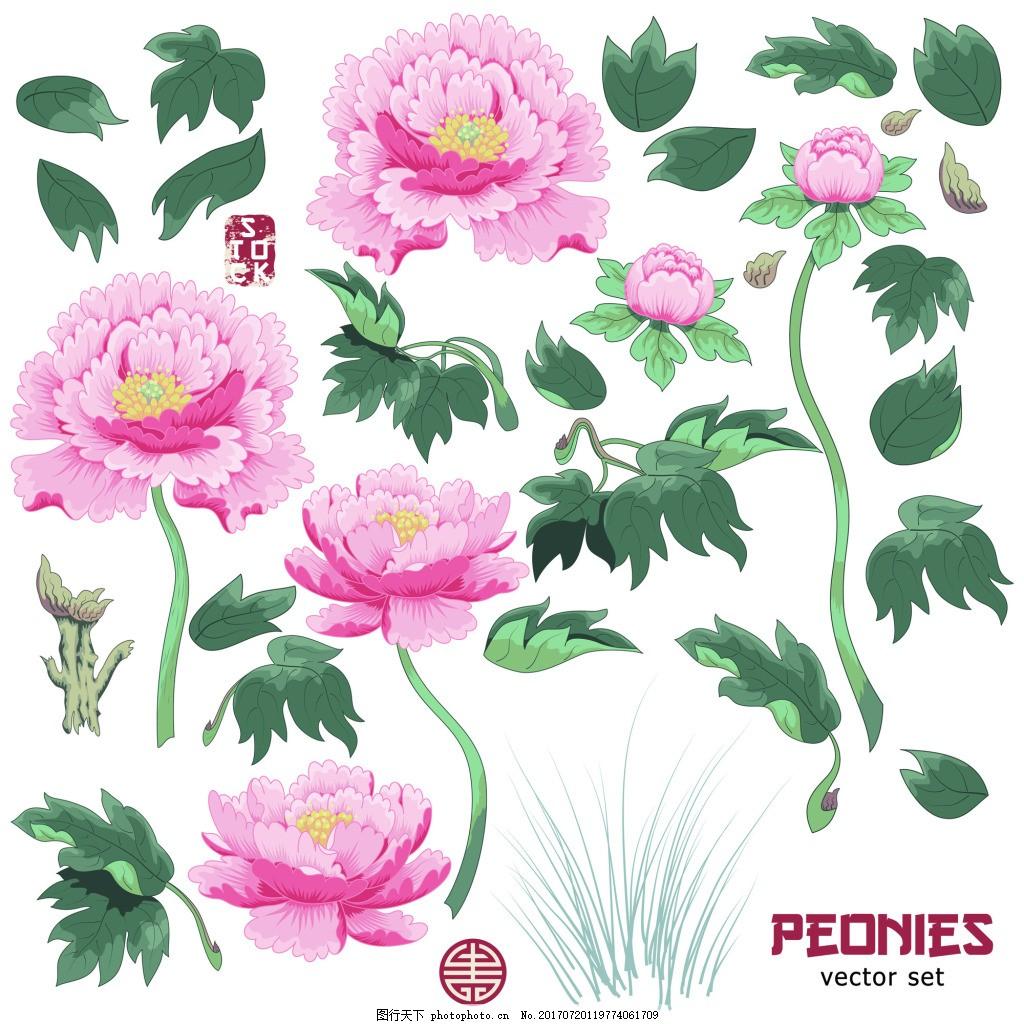 牡丹花朵树枝图形花纹VI设计矢量合集 绿叶 装饰 粉色 中国风